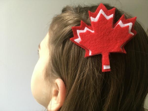 felt maple leaf hair clip in hair