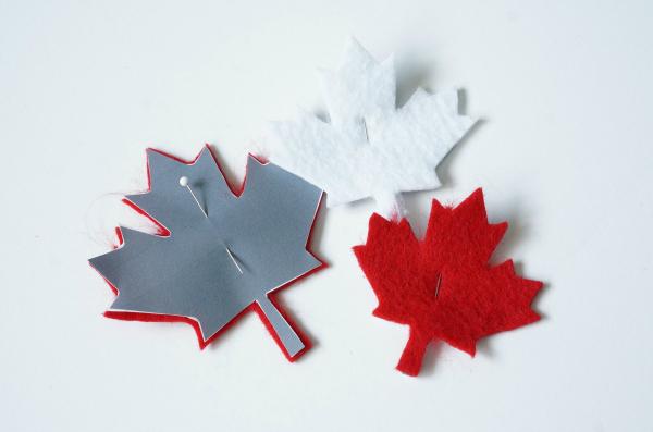 maple leaf canada cutouts on felt