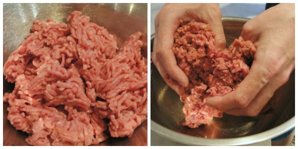 beef burgers with mixing