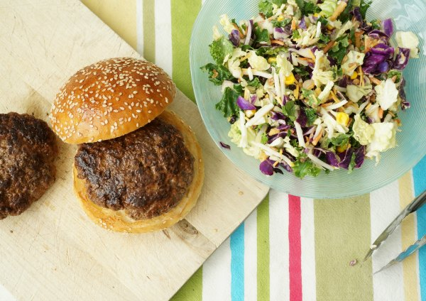 simple burger with salad topping