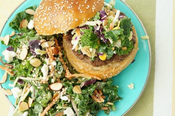 summer burger with side salad