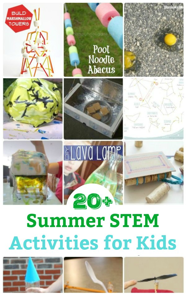Keep the kids learning and having fun with this collection of super fun summer STEM activities - science, technology, engineering and math for kids. #stemactivities #scienceactivitiesforkids #scienceforkids #mathforkids #engineeringforkids #technologyforkids #summeractivityforkids #summerfunforkids #summerfun #summerlearning #summerslide #scienceforkids #steamactivity #steamforkids