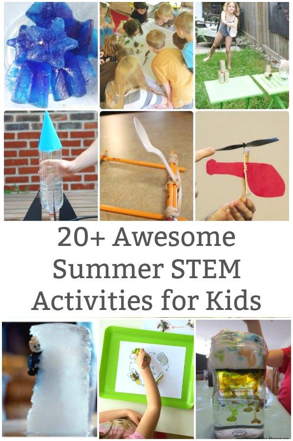 fun summer stem activities for kids collage of science activities
