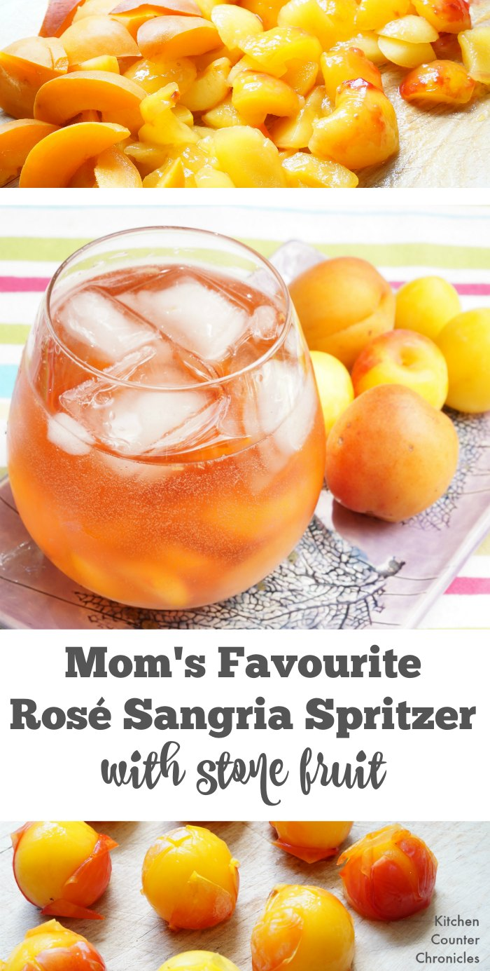 Rose Sangria spritzer with stone fruit - Take a break with this light and refreshing rose sangria spritzer. Use seasonal plums and apricots to add a hint of sweetness. | Rosé Sangria | Wine Recipe | Wine Sangria Recipe |
