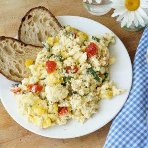 Mediterranean style scrambled eggs - greek scrambled eggs