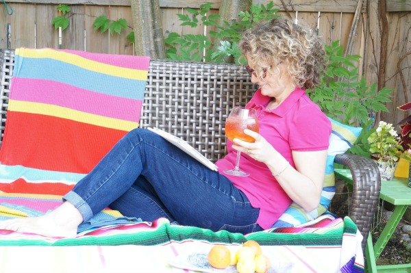 mom with rosé sangria outside