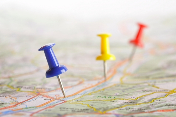 road map with push pins