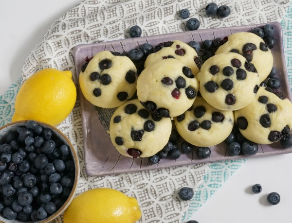 lemon blueberry pancake muffins overhead