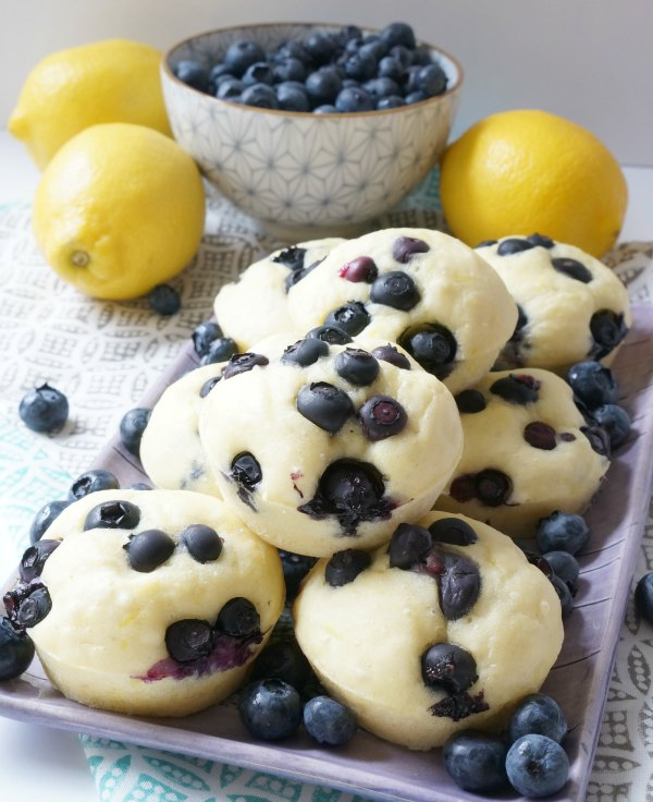lemon blueberry pancake muffins baked