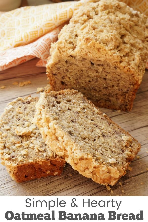Simple & Hearty Oatmeal Banana Bread