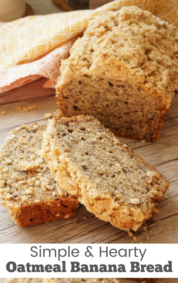 Oatmeal banana bread - Simple and delicious breakfast recipe for a kid friendly breakfast.   Breakfast Recipe   Banana Bread  