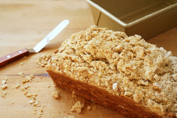 oatmeal banana bread on cutting board
