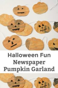 Halloween Fun Newspaper Pumpkin Garland - These are so much fun to make with the kids. Store them and keep them for many, many years to come. | Halloween Craft for Kids | Paper Craft for Kids | Thanksgiving and Fall Craft for Kids | Pumpkin Craft for Kids |