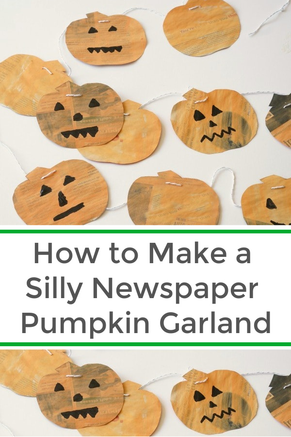 Fun Halloween pumpkin garland made with newspaper