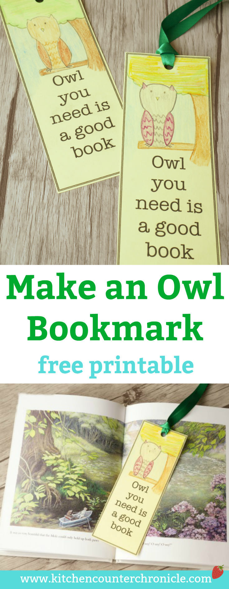 Make an Owl Bookmark - A free printable owl bookmark. Explore owls and the letter