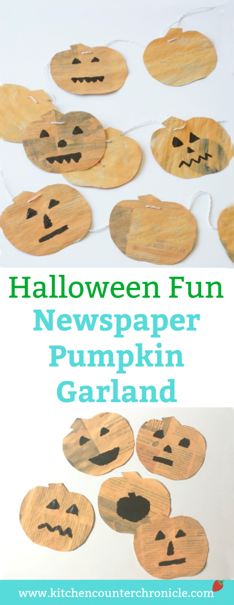 Newspaper Pumpkin Garland - Make a big pile of silly jack-o-lanterns with the kids and hang garlands all over the house for Halloween and Thanksgiving. | Pumpkin Craft for Kids | Halloween Garland | Halloween Craft for Kids | Thanksgiving Craft for Kids |