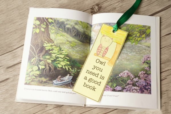 owl bookmark in book