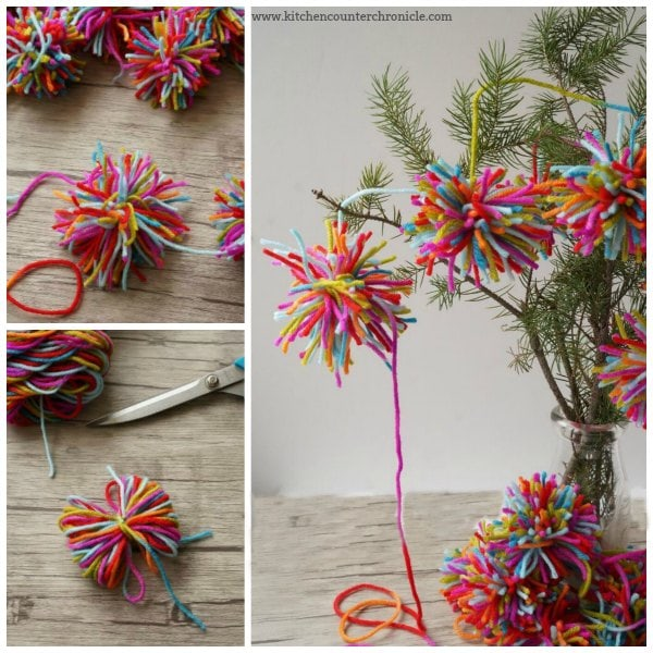 Boho Christmas Pom Pom Garland - A lovely kid-made Christmas garland inspired by Amelia from The Girl Who Saved Christmas. | #kidmadeornament #christmas #christmaskids #bohochristmas #bohopompomgarland #kidmadeornament