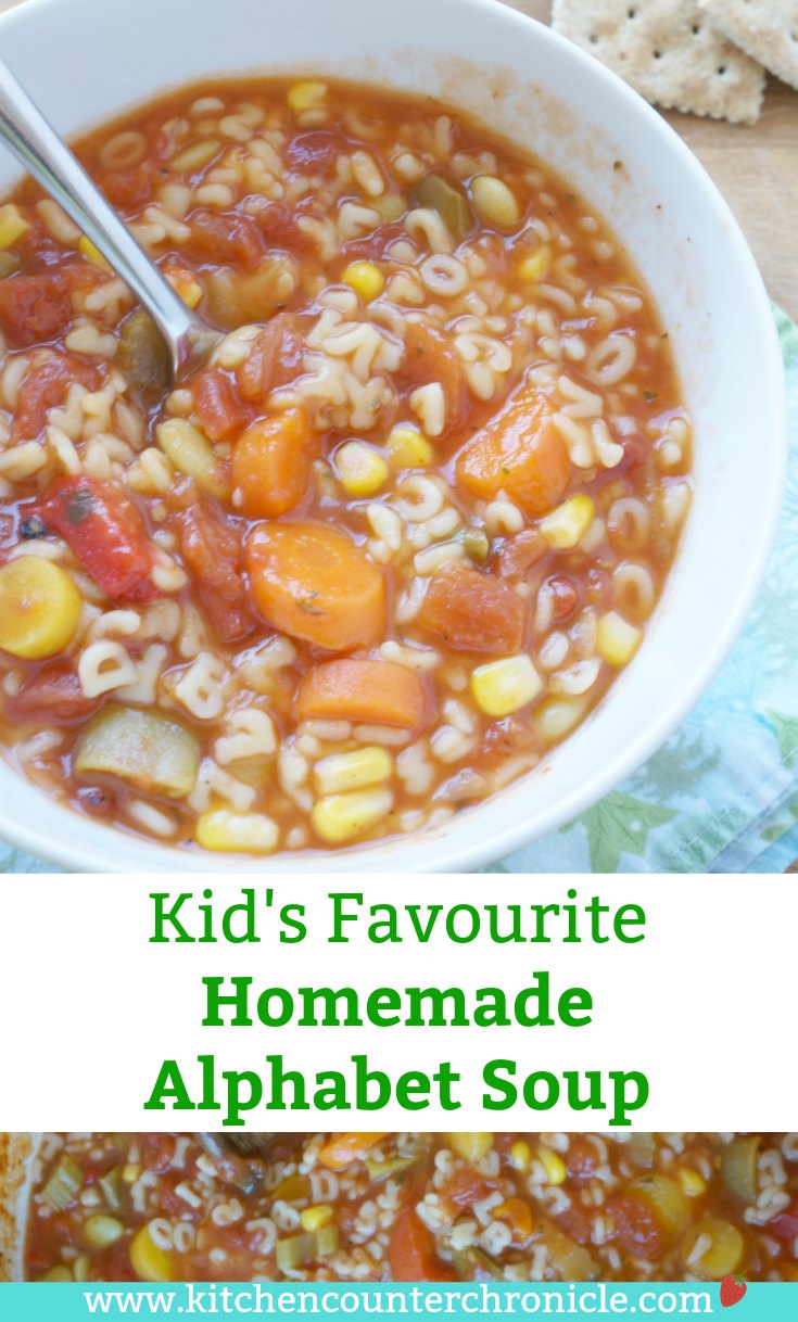Homemade Alphabet Soup - Kid approved recipe for a big batch of homemade alphabet soup. Perfect for the kid's lunchbox. | #souprecipe #alphabetsouprecipe #vegetarianrecipe #lunchrecipe #kidrecipe