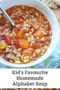 Homemade Alphabet Soup - A recipe for hearty vegetable alphabet soup - a family favourite. #lunchrecipe #souprecipe #alphabetsoup #lunchboxrecipe #familyfriendlysoup