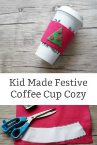 Festive Kid Made Coffee Cup Cozy - A fun christmas gift for kids to make for teachers and family. | #simplesewingforkids #christmas #kidmadegifts #christmaskid #christmaskidgift