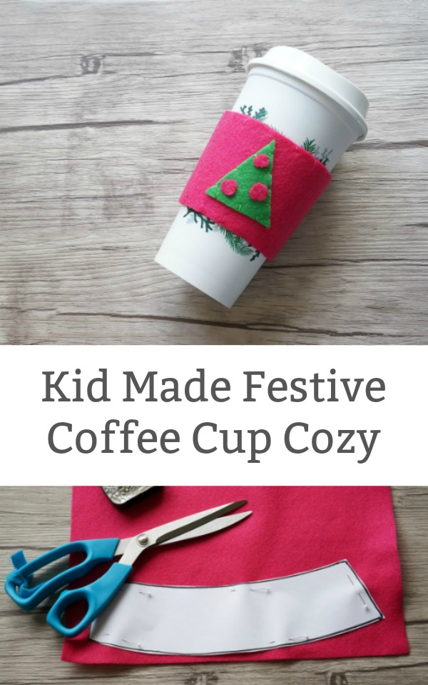 Festive Kid Made Coffee Cup Cozy - A fun christmas gift for kids to make for teachers and family. Includes free printable template. | #freeprintable #simplesewingforkids #christmas #kidmadegifts #christmaskid #christmaskidgift