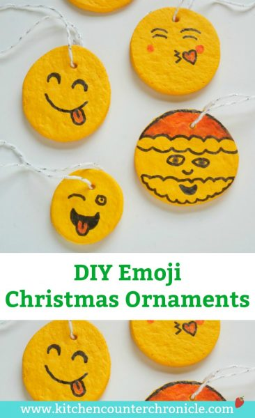 Kid Made DIY Emoji Christmas Ornament - A super fun Christmas ornament to make for friends and family. Personalize these salt dough emoji ornaments #ChristmasOrnament #ChristmasCraft #Christmas #emojicraft #tweencraft #teencraft #saltdough