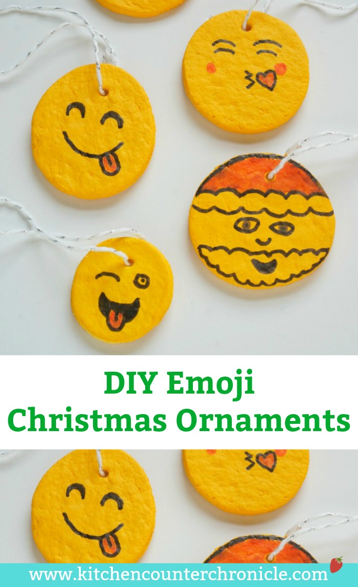 Kid Made DIY Emoji Christmas Ornament - A super fun Christmas ornament to make for friends and family. Personalize these salt dough emoji ornaments #ChristmasOrnament #ChristmasCraft #Christmas #emojicraft #tweencraft #teencraft #saltdough