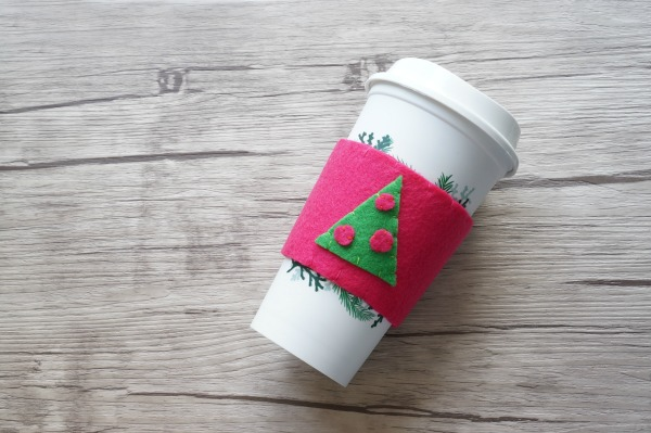 felt coffee cup cozy on coffee cup