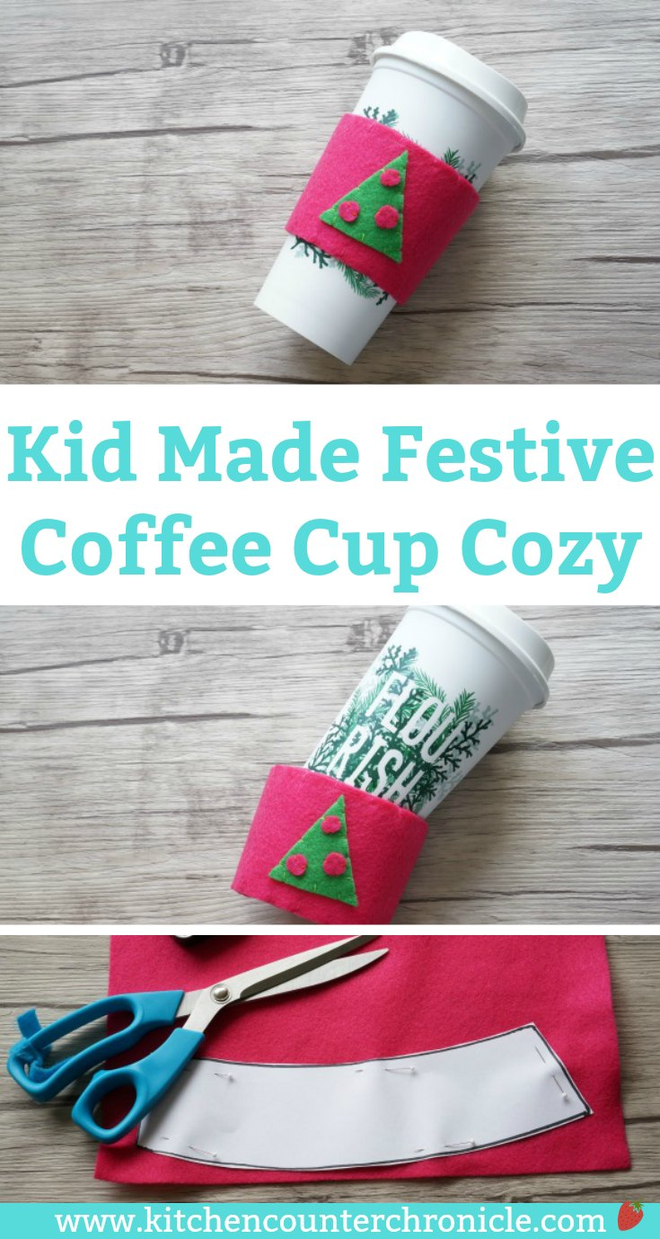 Festive Kid Made Coffee Cup Cozy - A fun christmas gift for kids to make for teachers and family. Includes free printable template and step by step instructions. | #simplesewingforkids #christmas #kidmadegifts #freeprintable #christmaskid #christmaskidgift