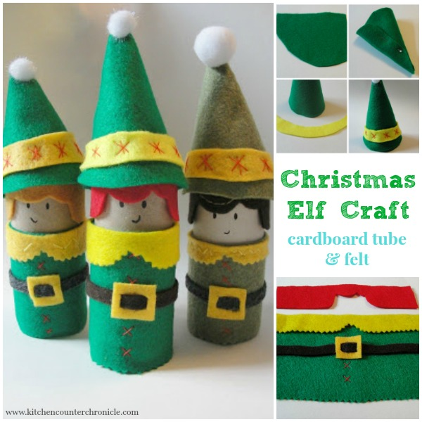Christmas Elf Craft - Cardboard and felt silly Christmas Elf