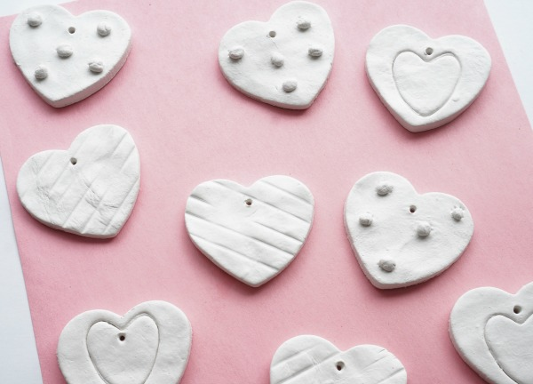 clay hearts drying