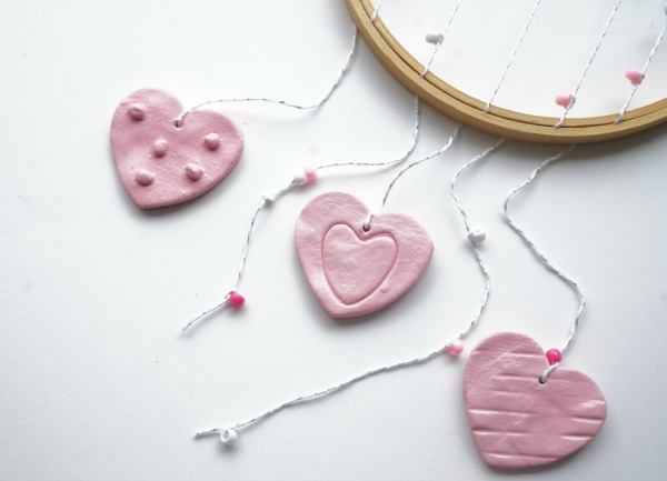 clay hearts with hoop and string