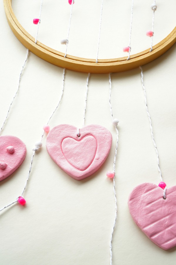 clay hearts wall hanging