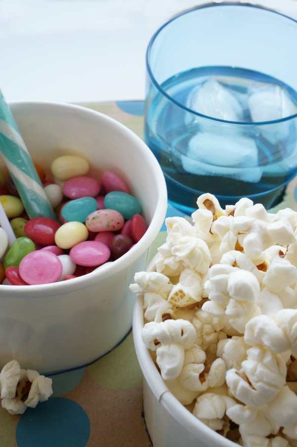 close up of movie snack tray