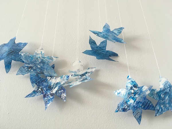 crayon snowflakes from below