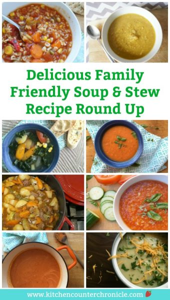 Family Friendly Soup and Stew Recipe Round Up - Comfort food alert! Soup and stew are easy & deliciously simple meals to feed a hungry family. #stewrecipe #beefstew #chickenstew #souprecipe #gazpacho #familyfriendlyrecipes #healthyrecipes #healthyrecipesforfamilies