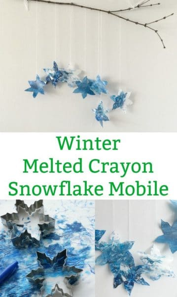 winter melted crayon snowflake mobile
