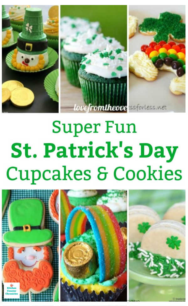 St. Patrick's Day cupcake and cookies