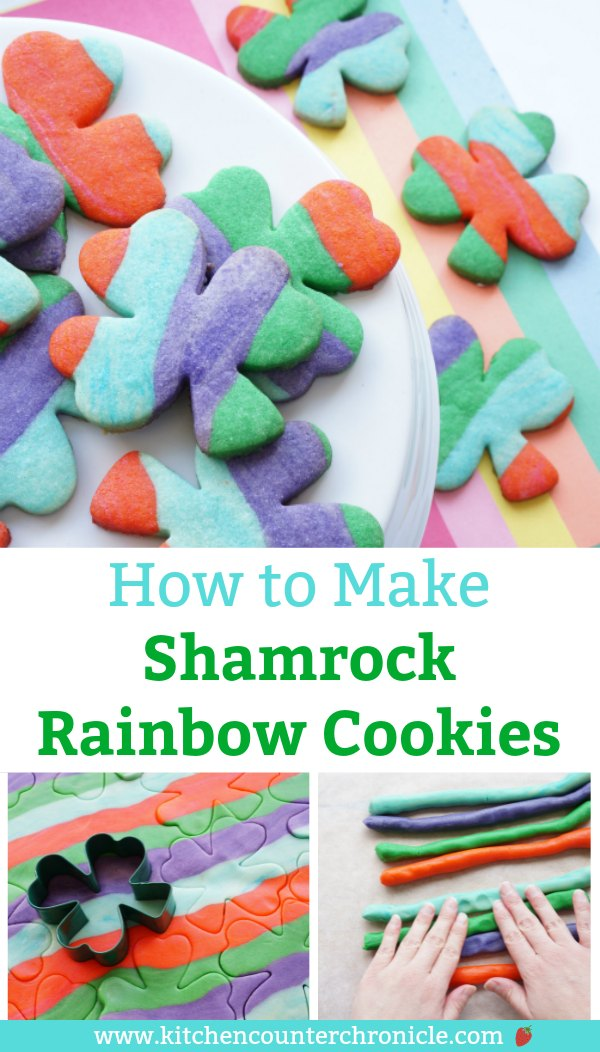 How much fun are these shamrock rainbow cookies?! Follow the step-by-step instructions and bake up a batch to celebrate the arrival of spring and St. Patrick's Day. #rainbow #rainbowcookies #StPatricksDay #StPatricksDayRecipe #KidsintheKitchen #cookierecipe #shamrock #sugarcookie #kitchencounterchronicles