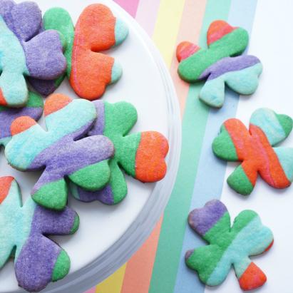 shamrock rainbow cookies