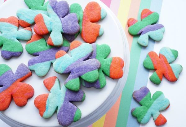 shamrock rainbow sugar cookies