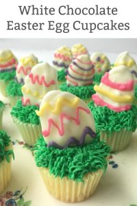 white chocolate easter egg cupcake