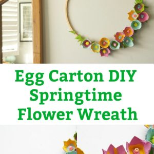 egg carton wreath flowers