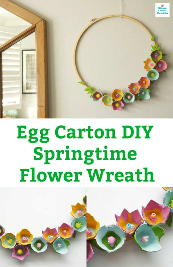 egg carton wreath flowers