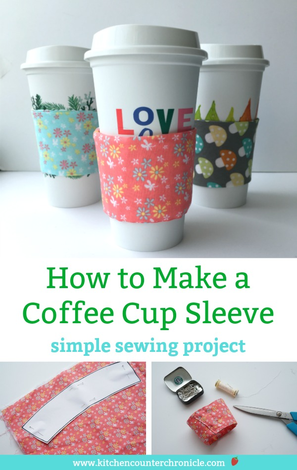 A super simple sewing project that makes a BIG difference. Skip the single use coffee cup and coffee cup sleeve with your own reusable coffee cup sleeve. #diy #sewingproject #simplesewingproject #earthdayactivity #coffee #coffeecupsleeve #sewingwithkids