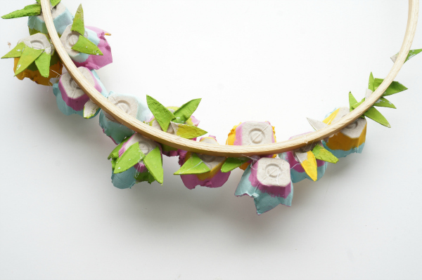 back side of egg carton flower wreath