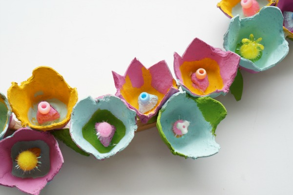 close up of egg carton flowers