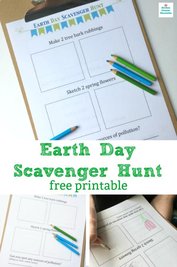 earth day scavenger hunt free printable