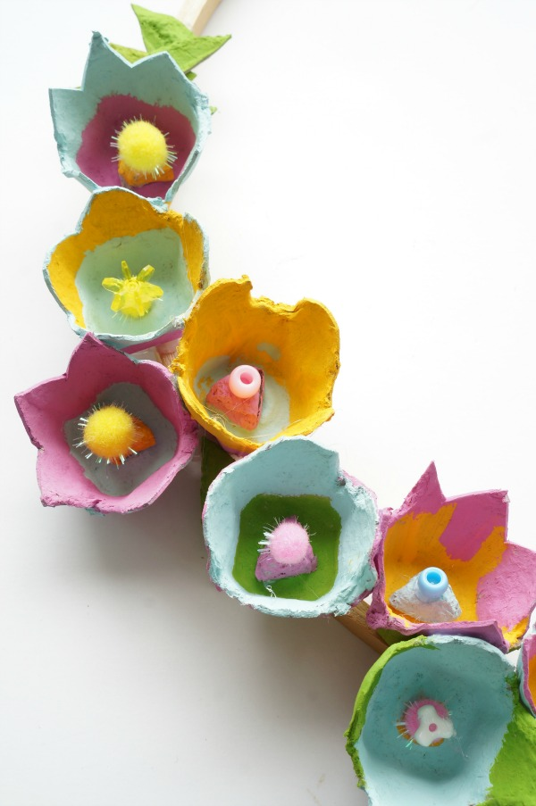 egg carton flower wreath vertical